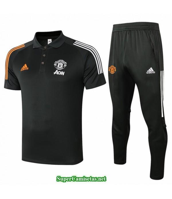 Tailandia Camiseta Kit De Entrenamiento Manchester United Polo Gris Oscuro 2020