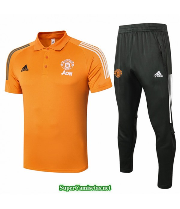 Tailandia Camiseta Kit De Entrenamiento Manchester United Polo Naranja 2020