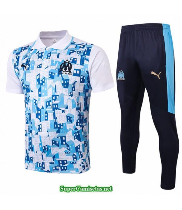 Tailandia Camiseta Kit De Entrenamiento Marsella Polo Blanco/azul 2020