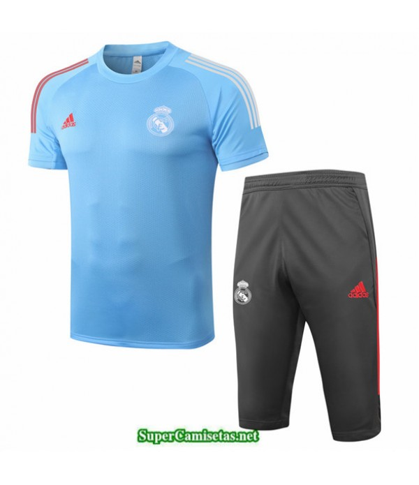 Tailandia Camiseta Kit De Entrenamiento Real Madrid 3/4 Azul Claro 2020