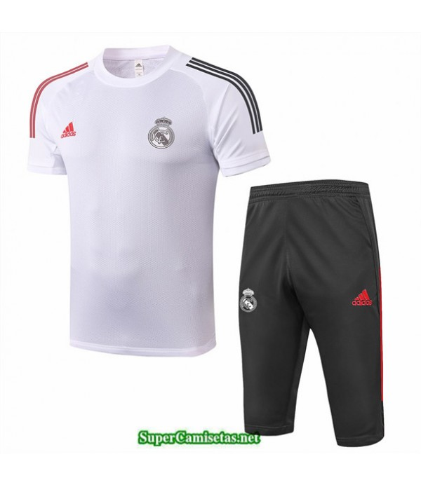 Tailandia Camiseta Kit De Entrenamiento Real Madrid 3/4 Blanco 2020