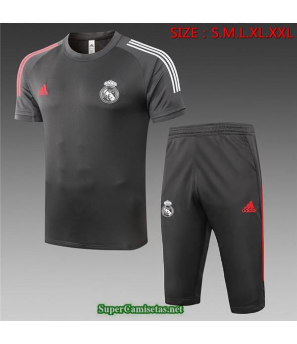 Tailandia Camiseta Kit De Entrenamiento Real Madrid 3/4 Gris Oscuro 2020
