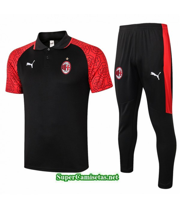 Tailandia Camiseta Kit De Entrenamiento Ac Milan Polo Negro/rojo 2020/21
