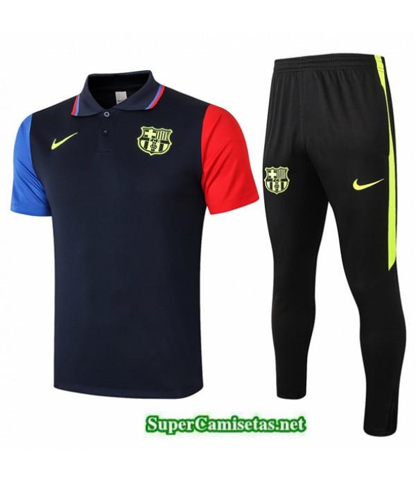 Tailandia Camiseta Kit De Entrenamiento Barcelona Polo Azul Marino Azul/rojo 2020/21