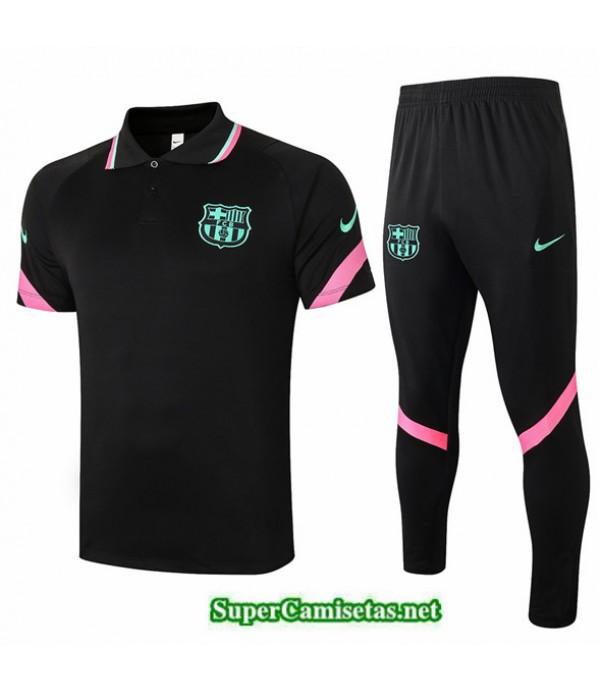 Tailandia Camiseta Kit De Entrenamiento Barcelona Polo Negro 2020/21
