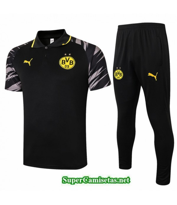 Tailandia Camiseta Kit De Entrenamiento Borussia Dortmund Polo Negro 2020/21