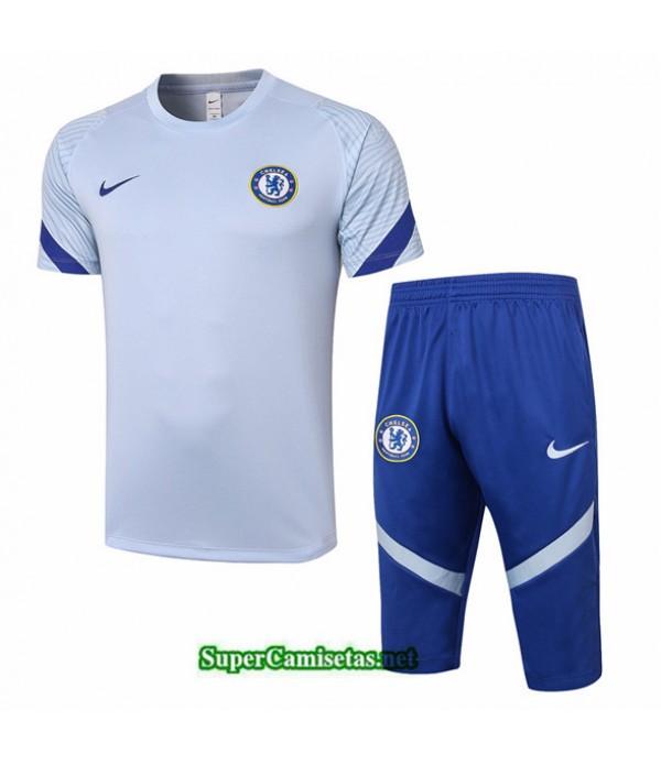 Tailandia Camiseta Kit De Entrenamiento Chelsea 3/4 Gris Claro 2020/21
