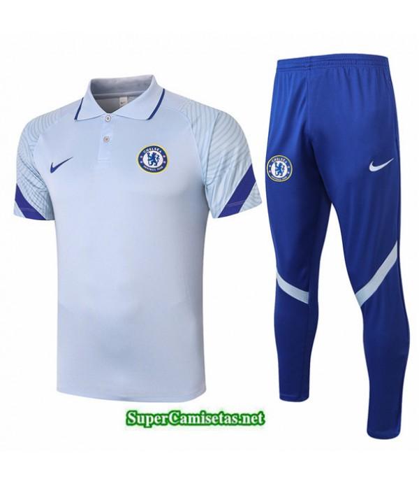 Tailandia Camiseta Kit De Entrenamiento Chelsea Polo Gris Claro 2020/21