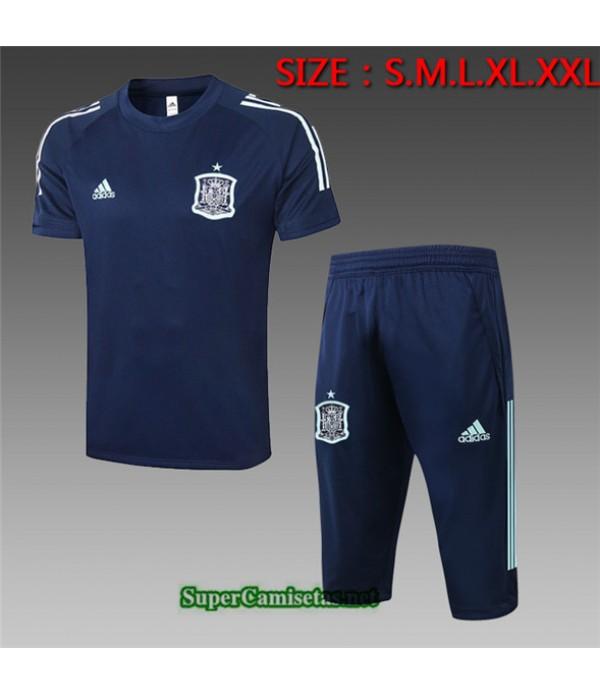 Tailandia Camiseta Kit De Entrenamiento España 3/4 Azul Oscuro 2020/21