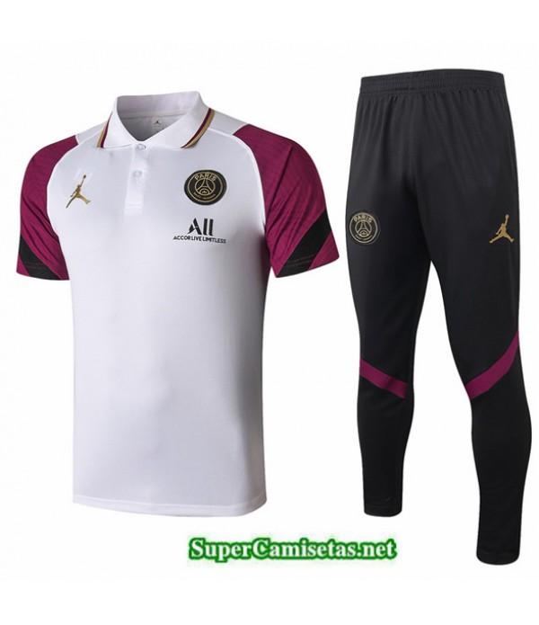 Tailandia Camiseta Kit De Entrenamiento Jordan Polo Blanco/púrpura 2020/21