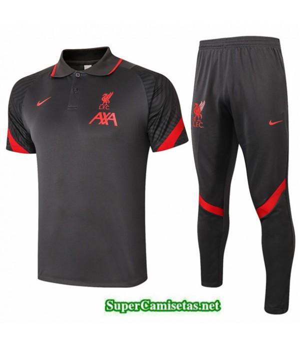 Tailandia Camiseta Kit De Entrenamiento Liverpool Polo Gris Oscuro 2020/21