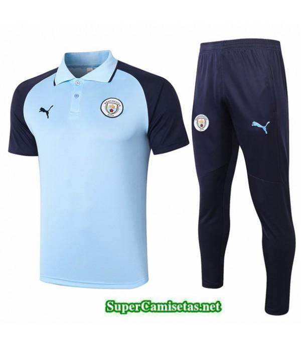 Tailandia Camiseta Kit De Entrenamiento Manchester City Polo Azul Claro/azul Marino 2020/21