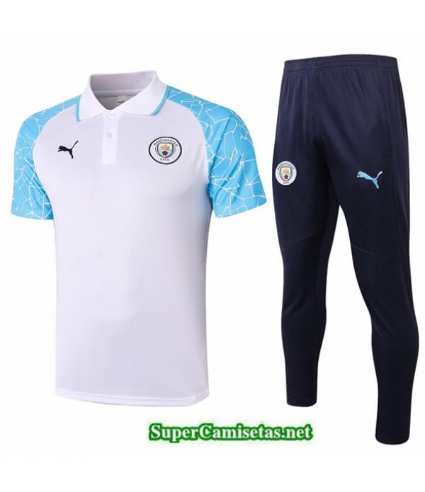 Tailandia Camiseta Kit De Entrenamiento Manchester City Polo Blanco/azul 2020/21