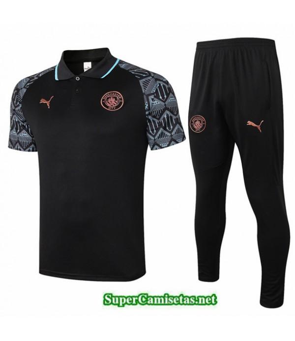 Tailandia Camiseta Kit De Entrenamiento Manchester City Polo Negro 2020/21