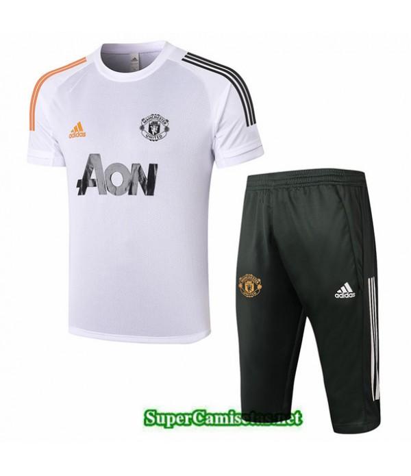 Tailandia Camiseta Kit De Entrenamiento Manchester United 3/4 Blanco 2020/21