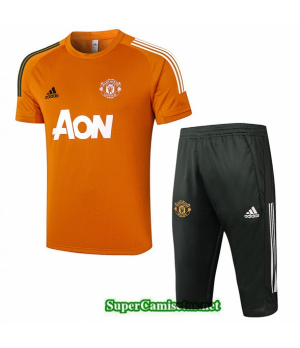 Tailandia Camiseta Kit De Entrenamiento Manchester United 3/4 Naranja 2020/21