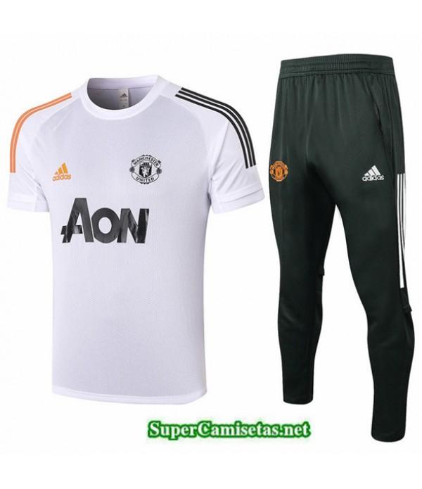 Tailandia Camiseta Kit De Entrenamiento Manchester United Blanco 2020/21