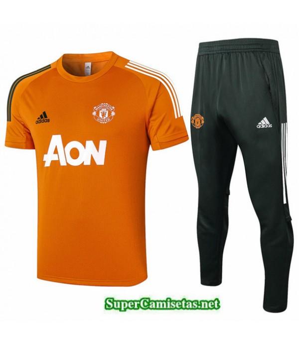 Tailandia Camiseta Kit De Entrenamiento Manchester United Naranja 2020/21