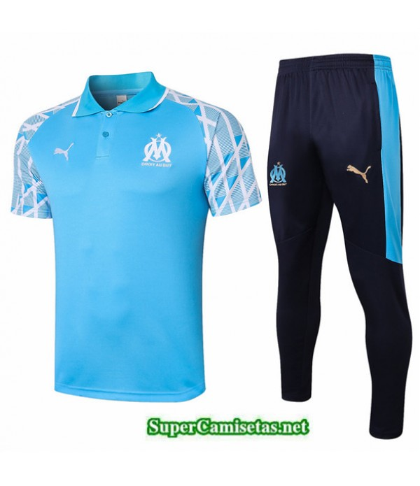 Tailandia Camiseta Kit De Entrenamiento Marsella Polo Azul Claro 2020/21