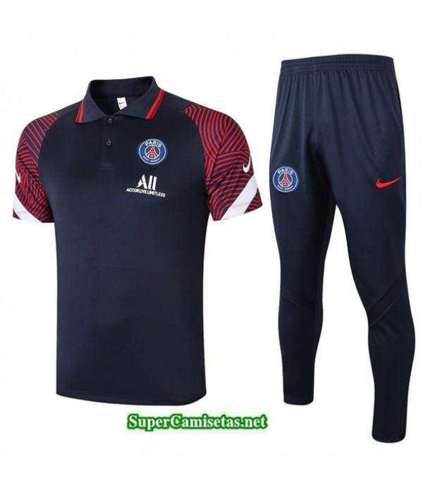 Tailandia Camiseta Kit De Entrenamiento Psg Polo Azul Oscuro/rojo 2020/21