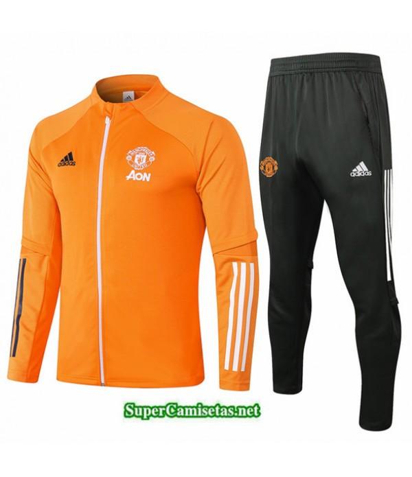 Tailandia Chaqueta Chandal Niños Manchester United Naranja 2020/21