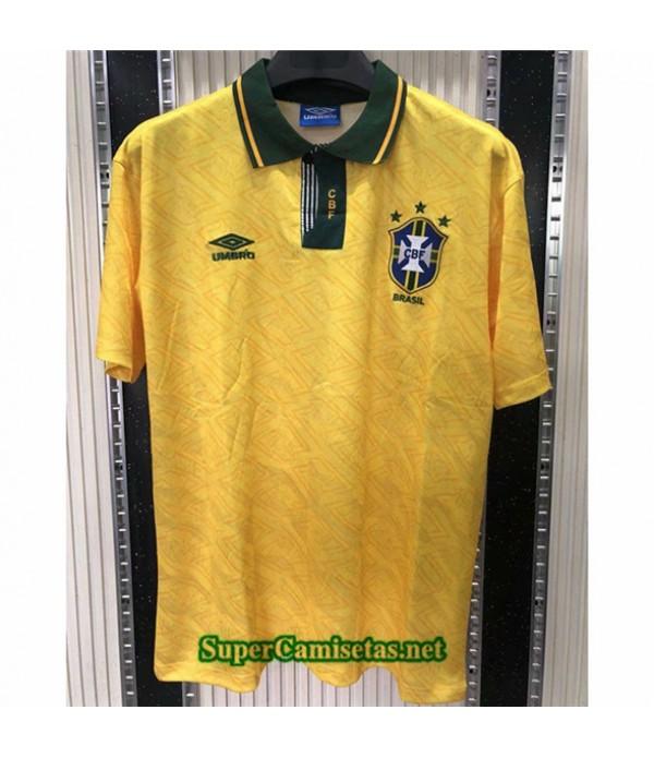 Tailandia Primera Equipacion Camiseta Clasicas Brasil Hombre 1991 93