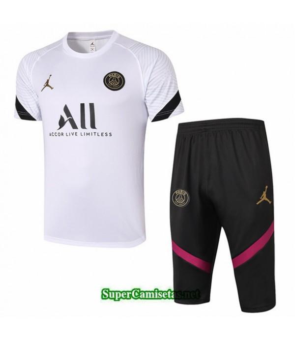 Tailandia Camiseta Kit De Entrenamiento Jordan Psg 3/4 Blanco 2020/21