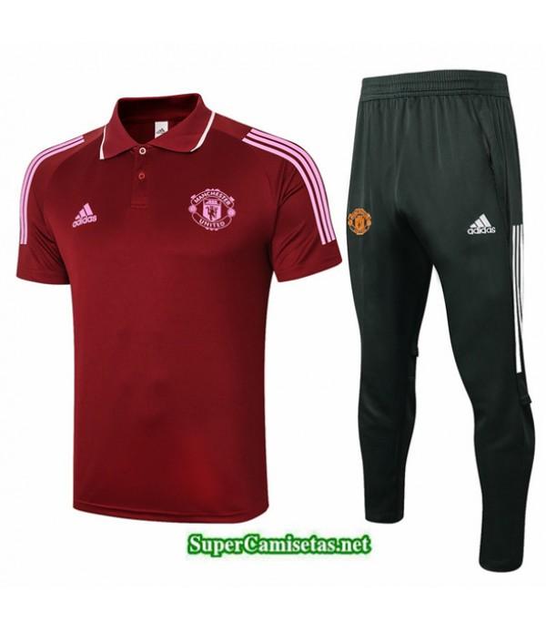Tailandia Camiseta Kit De Entrenamiento Manchester United Polo Carmesí 2020/21