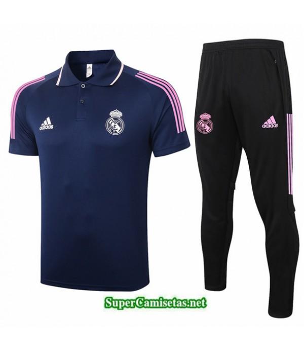 Tailandia Camiseta Kit De Entrenamiento Real Madrid Polo Azul Oscuro 2020/21