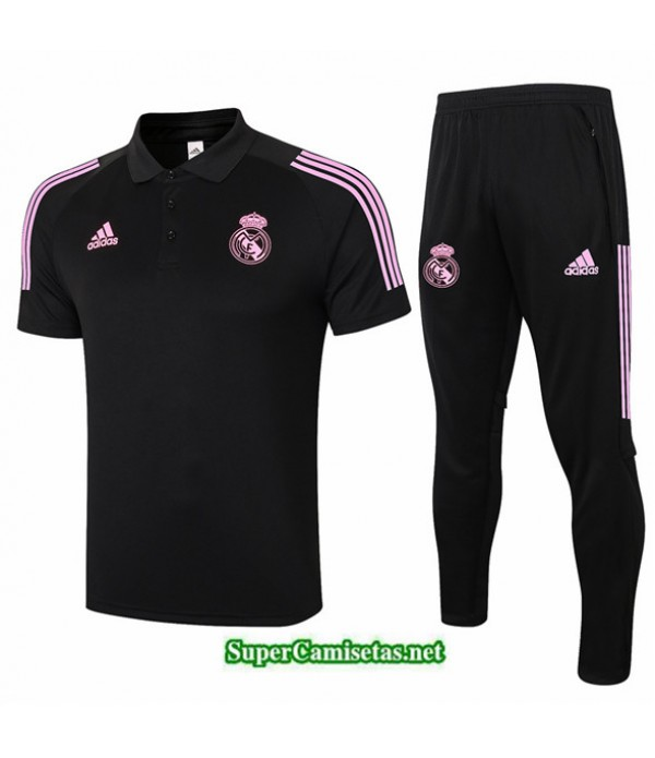 Tailandia Camiseta Kit De Entrenamiento Real Madrid Polo Negro 2020/21