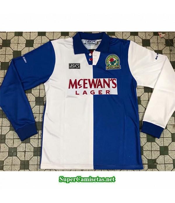 Tailandia Primera Equipacion Camiseta Clasicas Blackburn Hombre Manga Larga 1994 1995