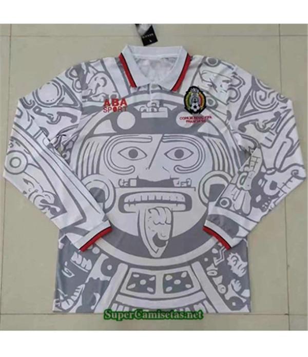 Tailandia Segunda Equipacion Camiseta Clasicas México Hombre Blanco Manga Larga 1998