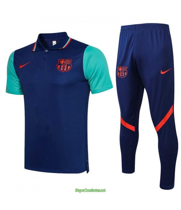 Tailandia Camiseta Kit De Entrenamiento Barcelona Polo Azul/verde 2021