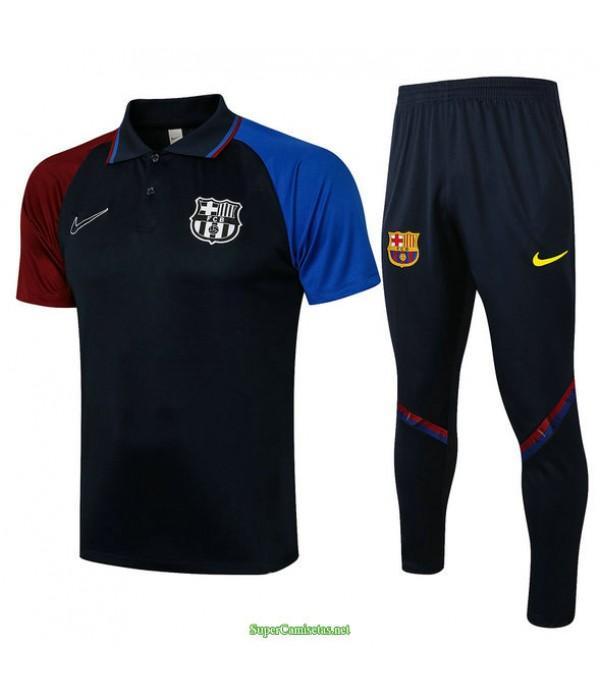 Tailandia Camiseta Kit De Entrenamiento Barcelona Polo Azul Marino 2021