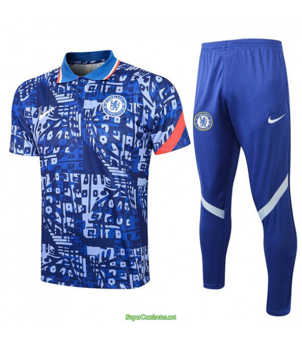 Tailandia Camiseta Kit De Entrenamiento Chelsea Polo Azul 2021