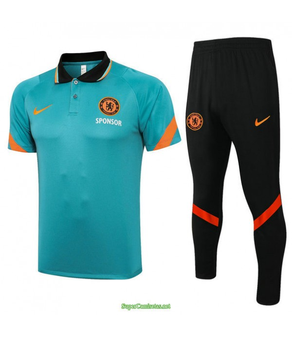Tailandia Camiseta Kit De Entrenamiento Chelsea Polo Pasto Verde 2021