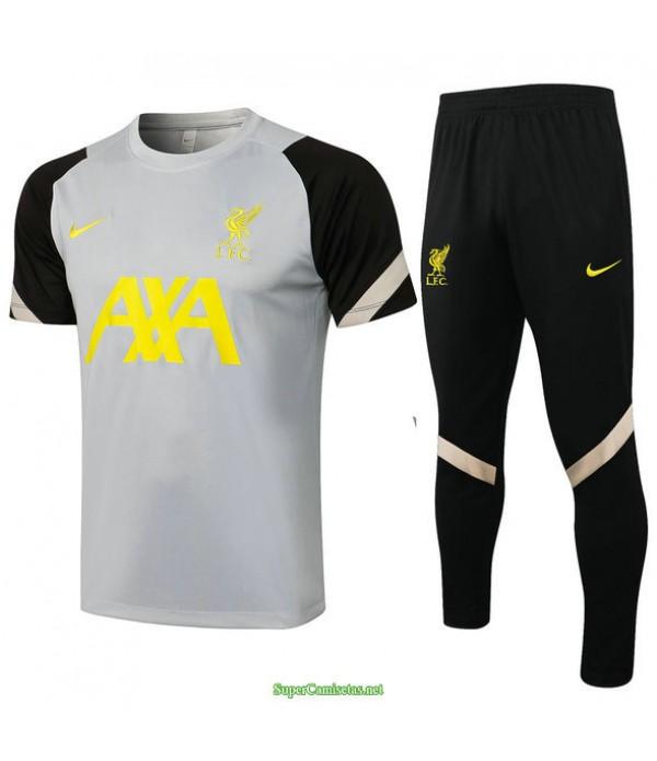 Tailandia Camiseta Kit De Entrenamiento Liverpool Gris Claro/negro 2021