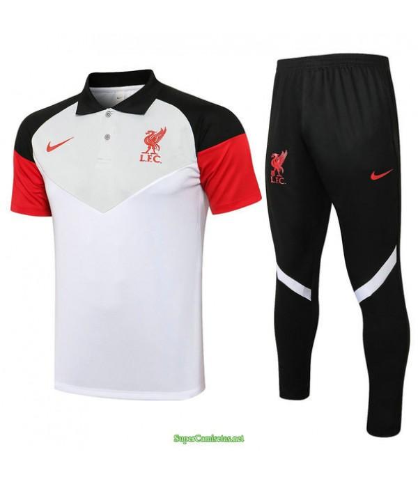 Tailandia Camiseta Kit De Entrenamiento Liverpool Polo Blanco/gris 2021