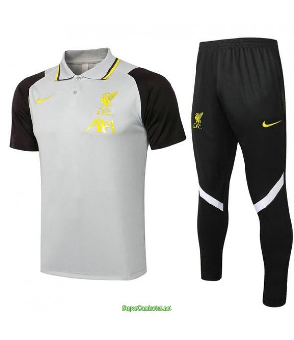 Tailandia Camiseta Kit De Entrenamiento Liverpool Polo Gris Claro 2021