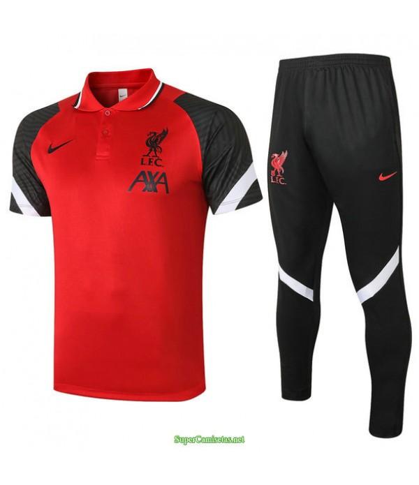 Tailandia Camiseta Kit De Entrenamiento Liverpool Polo Rojo/negro 2021