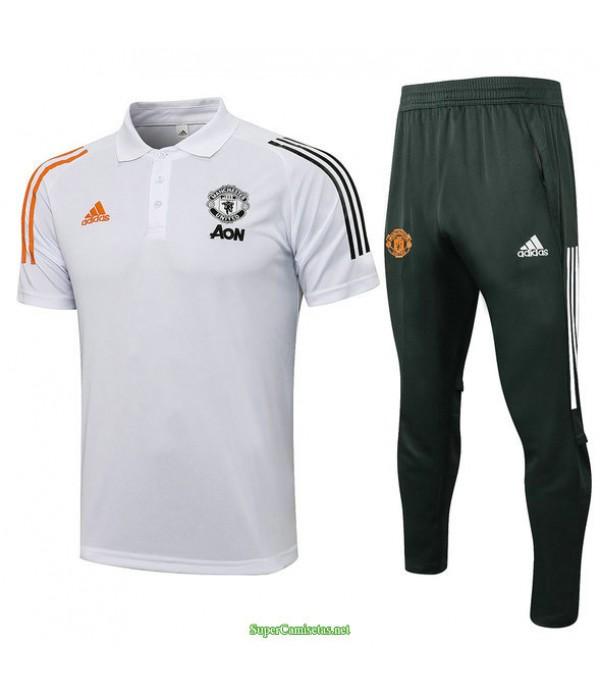 Tailandia Camiseta Kit De Entrenamiento Manchester United Polo Blanco 2021