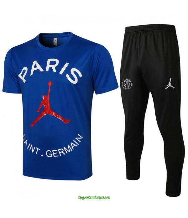 Tailandia Camiseta Kit De Entrenamiento Psg Jordan Azul 2021