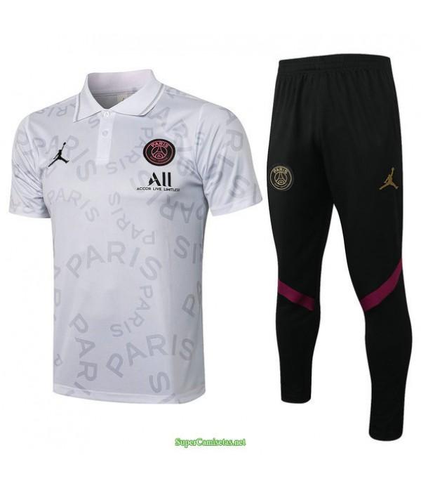 Tailandia Camiseta Kit De Entrenamiento Psg Jordan Polo Blanco 2021