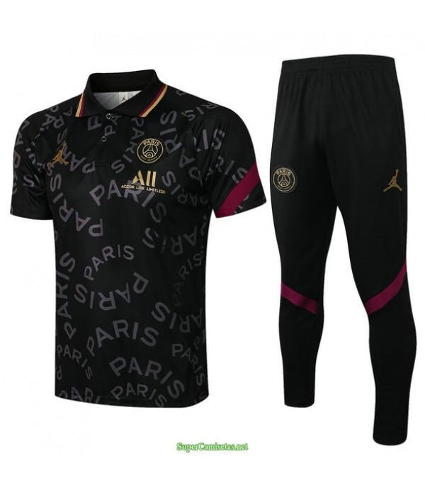 Tailandia Camiseta Kit De Entrenamiento Psg Jordan Polo Negro 2021