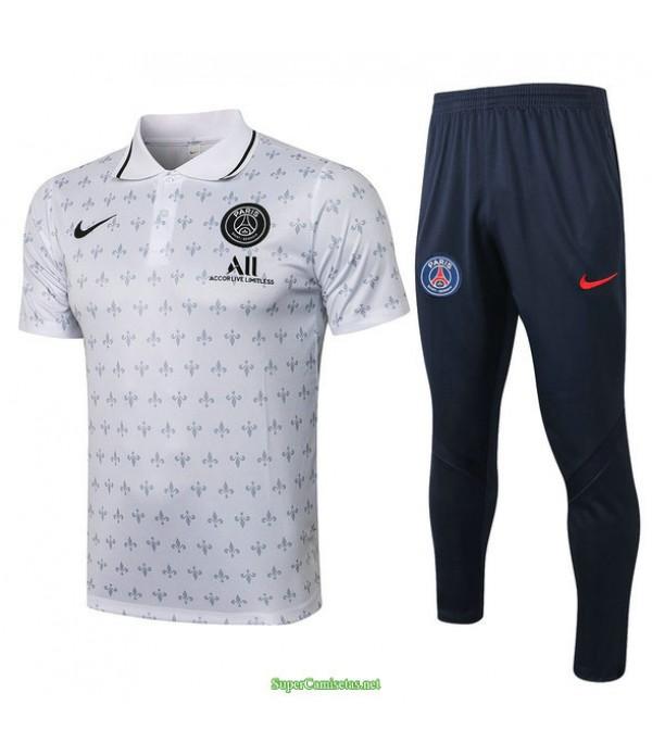 Tailandia Camiseta Kit De Entrenamiento Psg Polo Blanco 2021