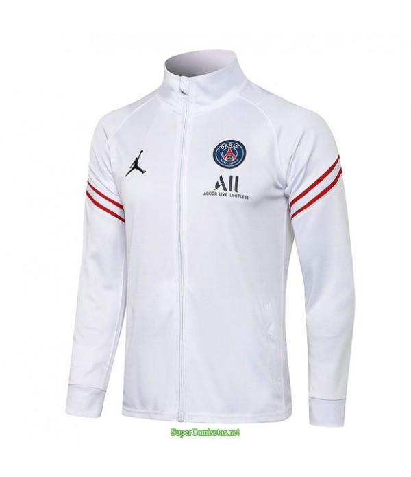 Tailandia Camiseta Psg Jordan Chaqueta Blanco Cuello Alto 2021