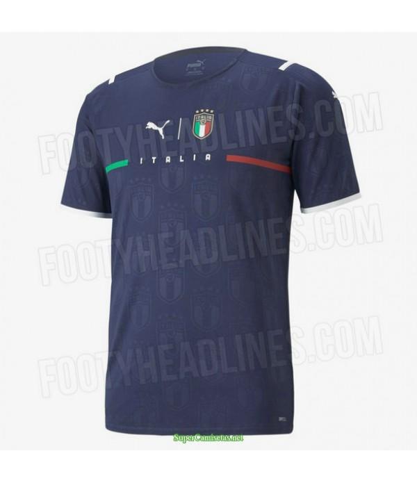 Tailandia Equipacion Camiseta Italia Portero Azul 2021
