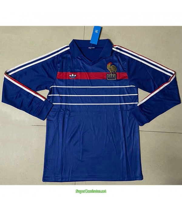 Tailandia Primera Equipacion Camiseta Francia Manga Larga Hombre 1984