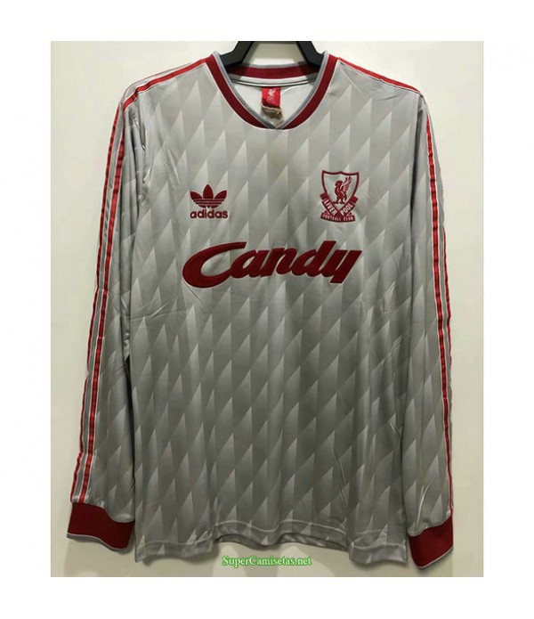 Tailandia Segunda Equipacion Camiseta Liverpool Manga Larga Hombre 1989 91