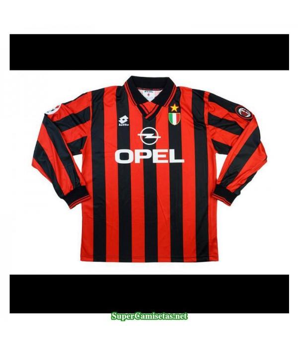 Camisetas Clasicas AC milan Hombre Manga Larga 1996-97